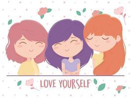 ama te stesso composizione con giovani donne e fiori vettore