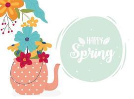 banner di celebrazione di primavera felice vettore