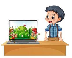 ragazzo accanto al laptop con elfo sullo schermo vettore