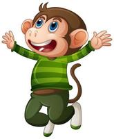 scimmia carina che indossa personaggio dei cartoni animati di t-shirt