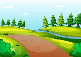 scena in stile cartone animato parco naturale vettore