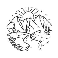 semplice progettazione del paesaggio di montagna vettore