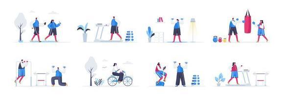 pacchetto di scene di allenamento fitness vettore
