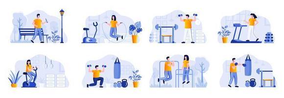 scene di fitness in bundle con personaggi di persone vettore