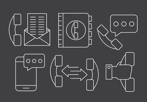 Icone di gestione dei telefoni lineari gratuiti vettore