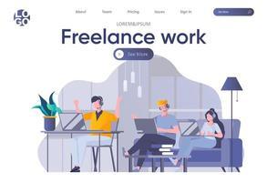 pagina di destinazione del lavoro freelance con intestazione
