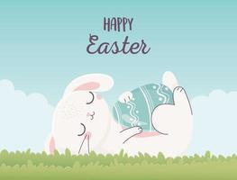 simpatico coniglietto con uovo per la celebrazione del giorno di Pasqua