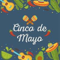 elementi messicani per la celebrazione del cinco de mayo vettore
