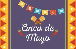 elementi messicani per banner celebrazione cinco de mayo vettore