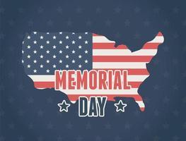 mappa americana per banner celebrazione del memorial day vettore