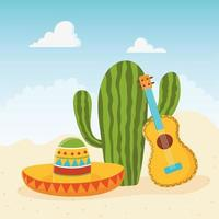simpatico cactus con sombrero e chitarra acustica vettore
