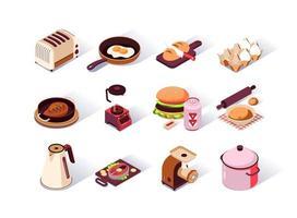 set di icone isometriche di utensili da cucina vettore