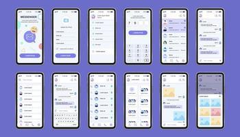 kit di design unico di messenger online per app vettore