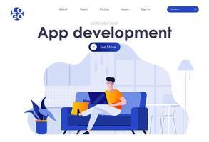 progettazione di una pagina di destinazione piatta per lo sviluppo di app vettore