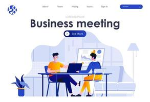 design della pagina di destinazione piatta per riunioni di lavoro vettore