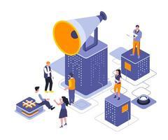 design isometrico di referral marketing vettore