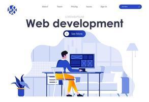 pagina di destinazione piatta per lo sviluppo web vettore