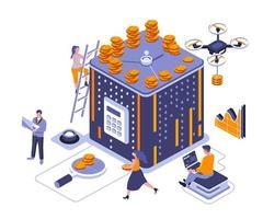 il tempo è denaro design isometrico vettore