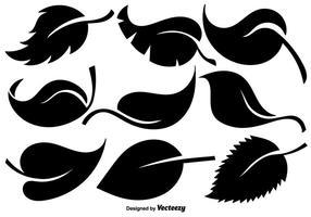 Insieme vettoriale di icone di foglie piatte