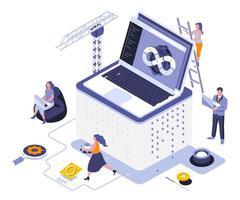 progettazione isometrica di sviluppo web vettore