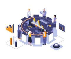 design isometrico riunione di lavoro vettore