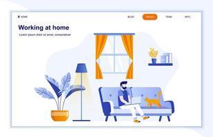 pagina di destinazione piatta lavorando a casa