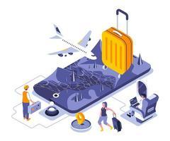 disegno isometrico di vacanza di viaggio vettore