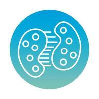 cellula infetta che si divide con l'icona di stile del blocco covid19