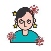 persona con vertigini e sintomi di covid19