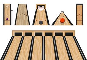 Vettore di corsia di bowling piatto con vista prospettica