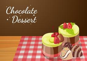 Vettore di dessert al cioccolato