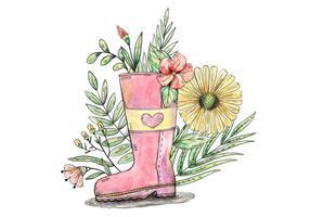 Vettore dello stivale del giardino riempito fiore e della primavera