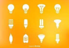 Insieme dell'icona di vettore della lampada principale e della lampadina