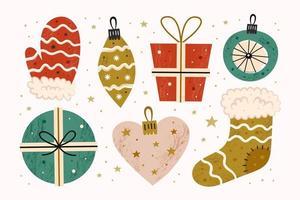 buon natale decorazione, regali in scatole, calzino, guanto