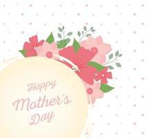 felice festa della mamma scritte e fiori biglietto di auguri vettore