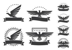 emblemi di aquila scudo icone vettore