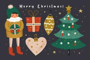 set di natale con ragazzo, regali, albero di natale, decorazione vettore