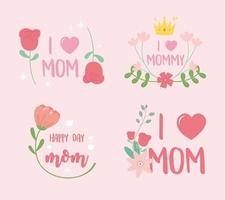 fiori e iscrizioni per la festa della mamma impostati per le carte vettore