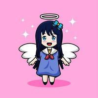 cartone animato carino ragazza angelo vettore