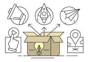 Illustrazione vettoriale su una scatola di idee