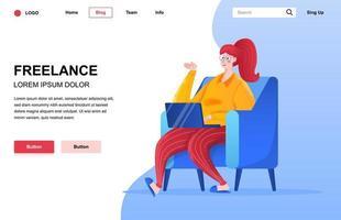 composizione della pagina di destinazione piatta freelance