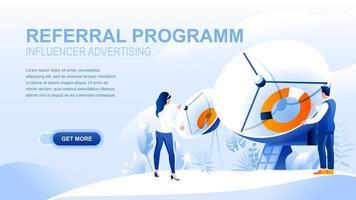 Pagina di destinazione piatta del programma di riferimento con intestazione vettore