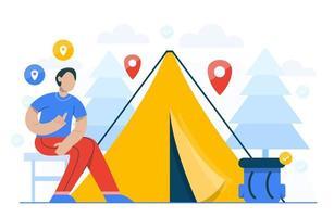 concetto di campeggio per modello di pagina di destinazione vettore
