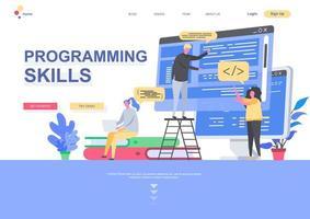 modello di pagina di destinazione piatta per competenze di programmazione vettore