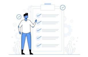 controllo del concetto di successo dell'attività per il modello di pagina di destinazione vettore