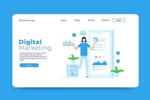 modello di pagina di destinazione del marketing digitale vettore