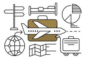Elementi di vettore di viaggio d'affari lineare