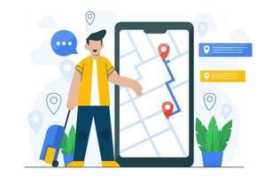 concetto di navigazione per modello di pagina di destinazione vettore