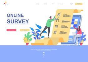 modello di pagina di destinazione piatta del sondaggio online vettore