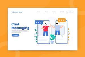 modello di pagina di destinazione della messaggistica di chat vettore